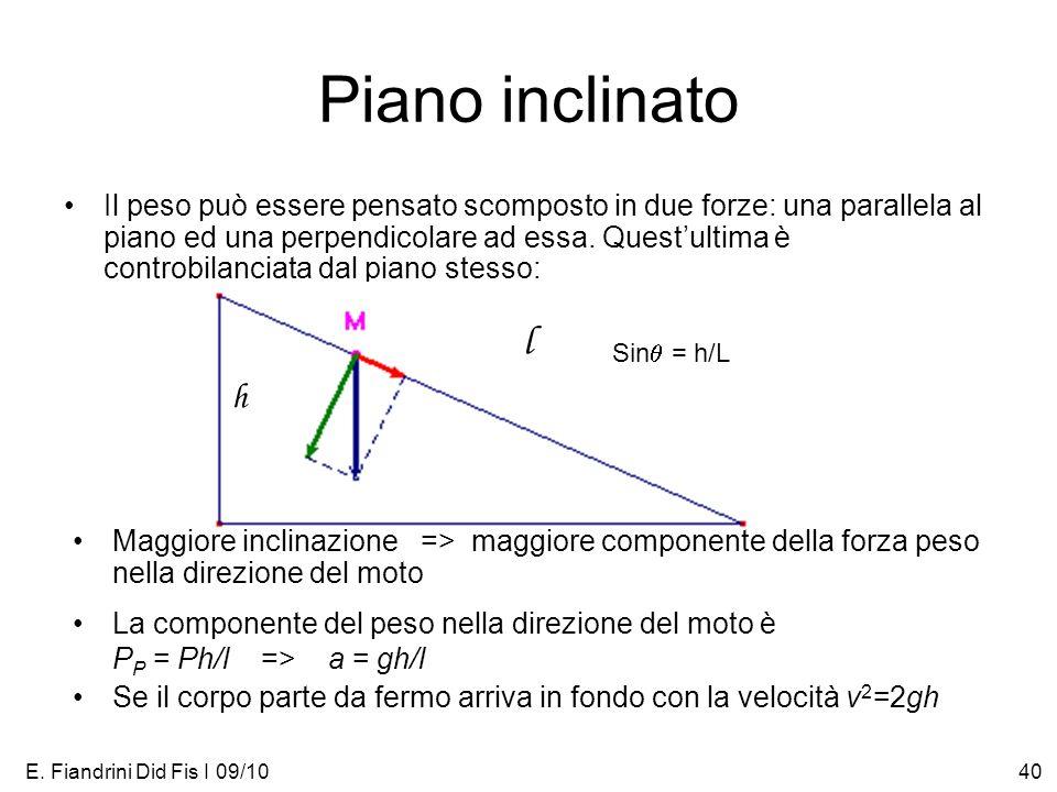E. Fiandrini Did Fis I 09/1040 Piano inclinato Il peso può essere pensato scomposto in due forze: una parallela al piano ed una perpendicolare ad essa