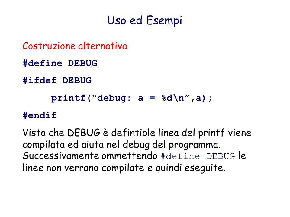Uso ed Esempi Prevenire sovrapposizioni di MACRO: #undef #include progetto_esterno.h #undef MACRO #define MACRO Non conoscendo totalmente progetto_esterno.h, prima di definere una propria macro, conveine usare undef per prevenire una doppia definizione