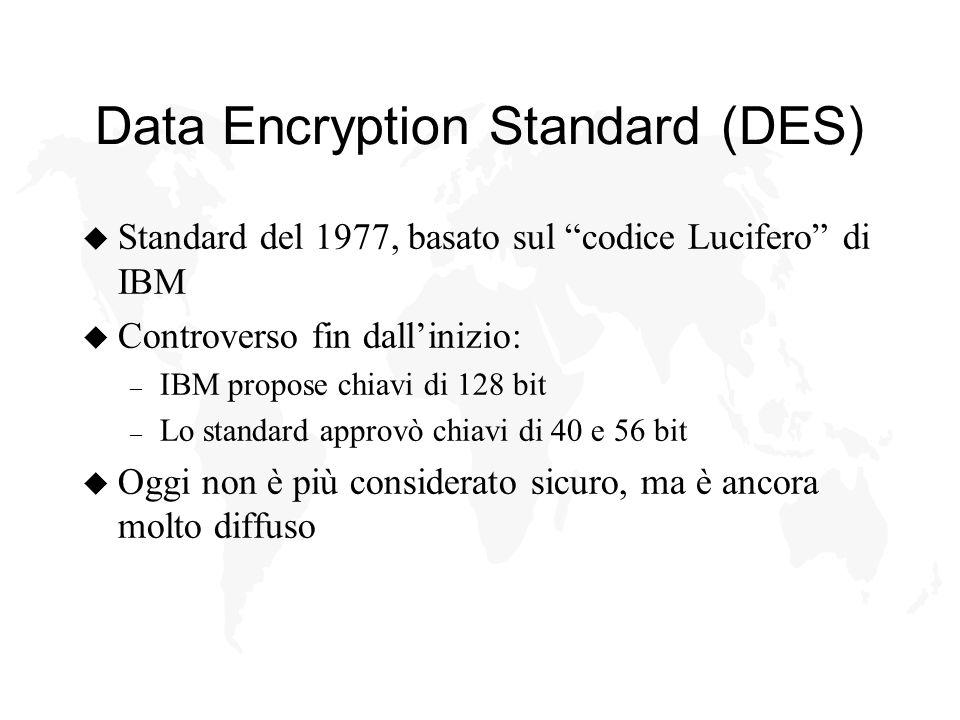 Data Encryption Standard (DES) u Standard del 1977, basato sul codice Lucifero di IBM u Controverso fin dallinizio: – IBM propose chiavi di 128 bit – Lo standard approvò chiavi di 40 e 56 bit u Oggi non è più considerato sicuro, ma è ancora molto diffuso