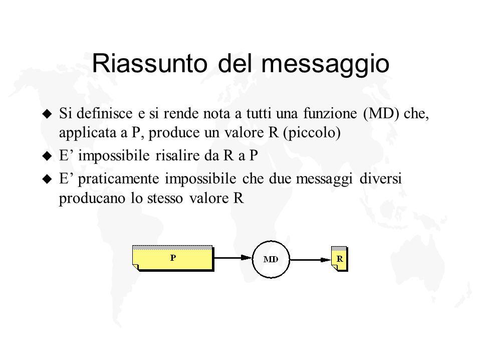 Riassunto del messaggio u Si definisce e si rende nota a tutti una funzione (MD) che, applicata a P, produce un valore R (piccolo) u E impossibile risalire da R a P u E praticamente impossibile che due messaggi diversi producano lo stesso valore R
