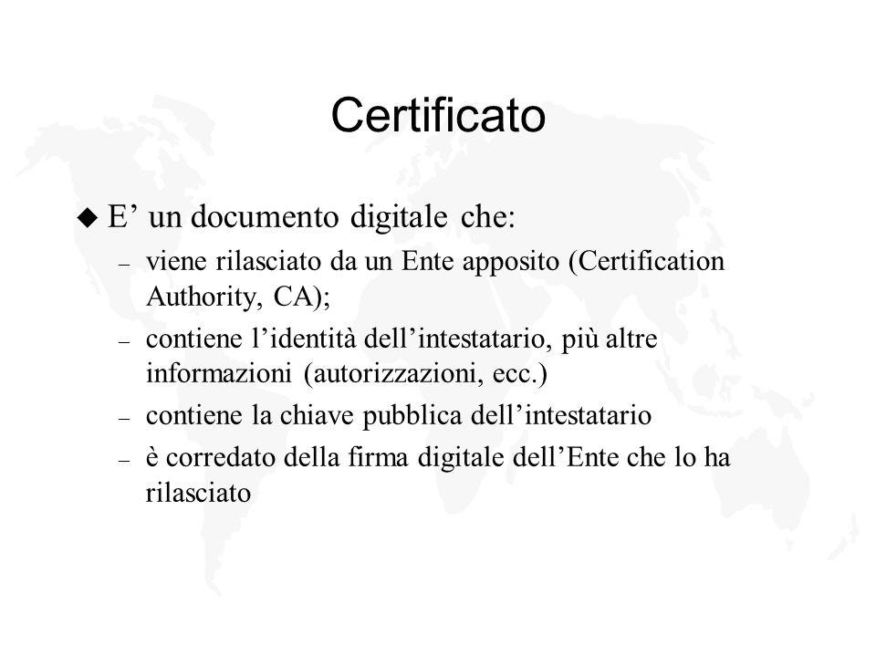 Certificato u E un documento digitale che: – viene rilasciato da un Ente apposito (Certification Authority, CA); – contiene lidentità dellintestatario, più altre informazioni (autorizzazioni, ecc.) – contiene la chiave pubblica dellintestatario – è corredato della firma digitale dellEnte che lo ha rilasciato