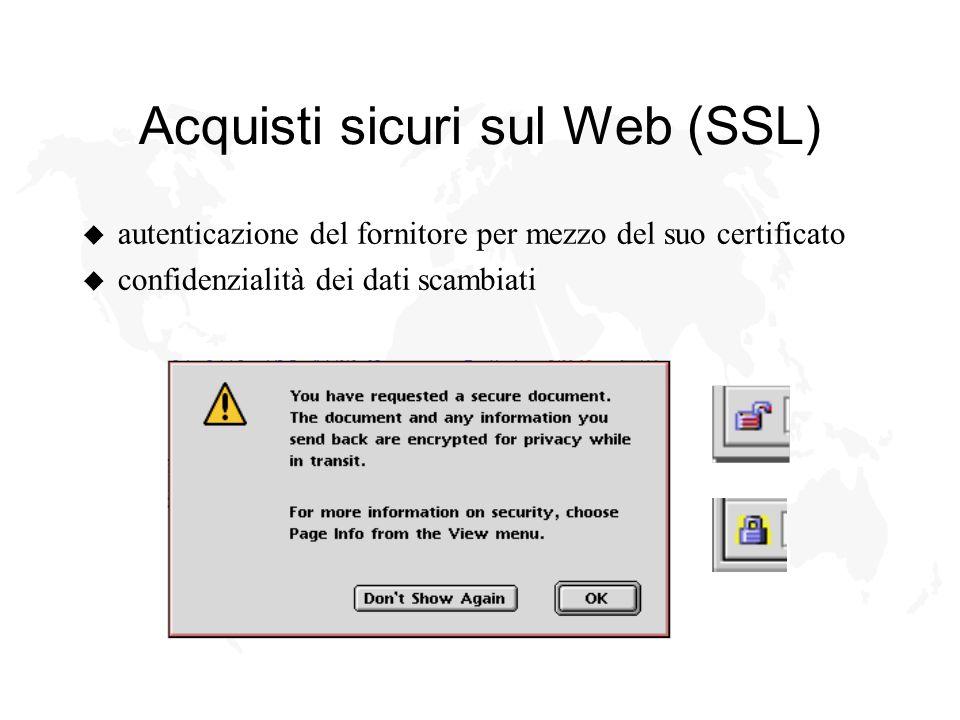 Acquisti sicuri sul Web (SSL) u autenticazione del fornitore per mezzo del suo certificato u confidenzialità dei dati scambiati