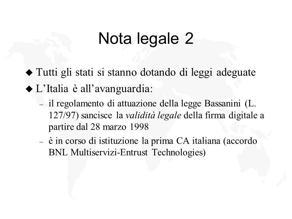 Nota legale 2 u Tutti gli stati si stanno dotando di leggi adeguate u LItalia è allavanguardia: – il regolamento di attuazione della legge Bassanini (L.