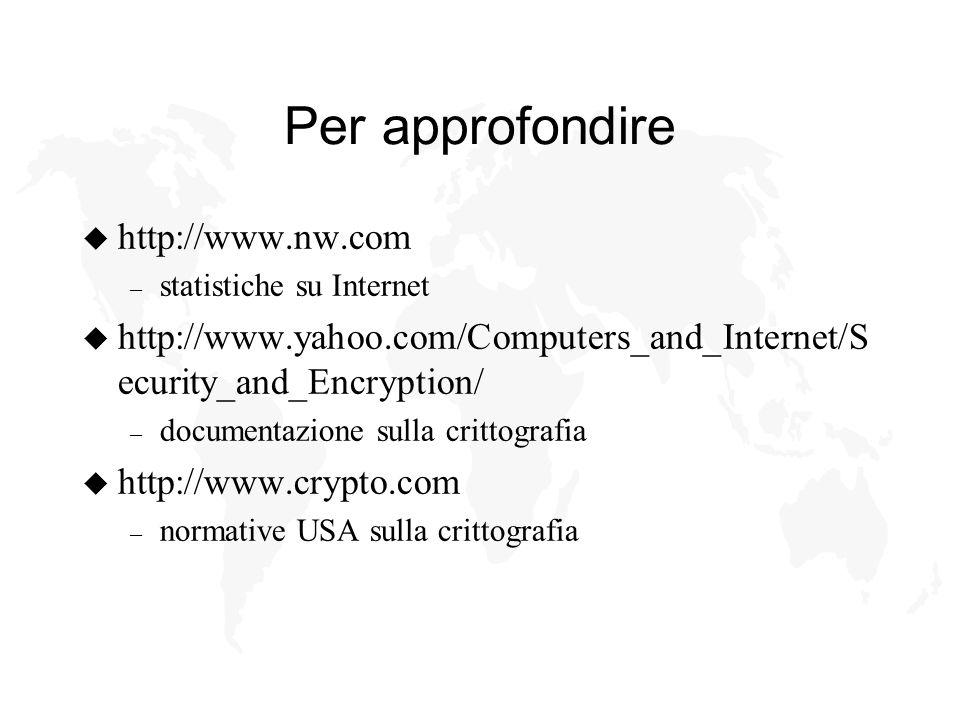Per approfondire u http://www.nw.com – statistiche su Internet u http://www.yahoo.com/Computers_and_Internet/S ecurity_and_Encryption/ – documentazione sulla crittografia u http://www.crypto.com – normative USA sulla crittografia