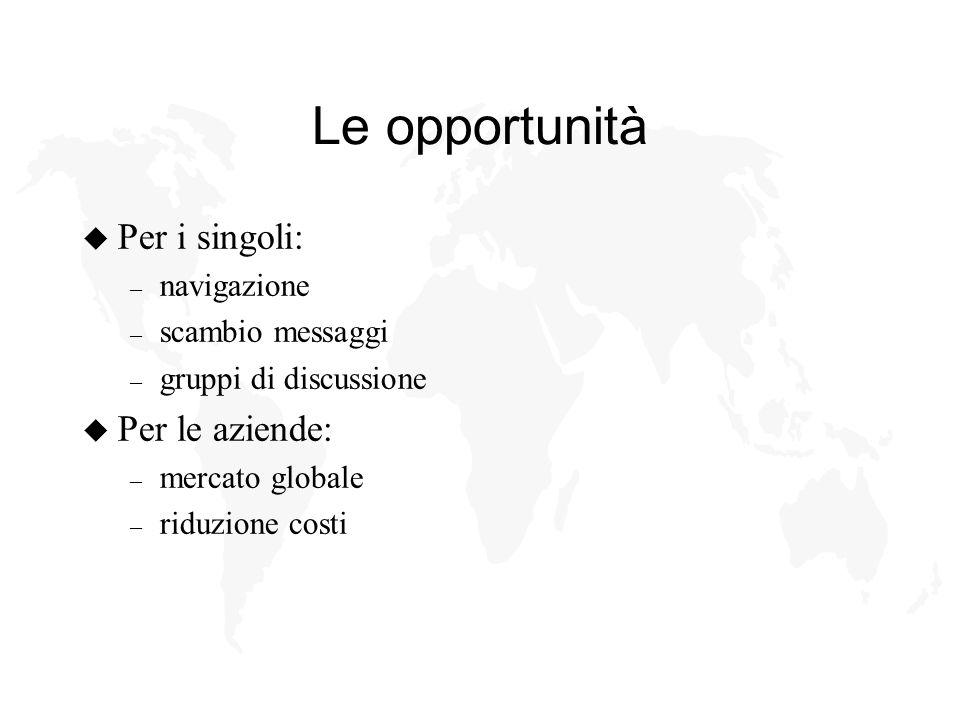 Le opportunità u Per i singoli: – navigazione – scambio messaggi – gruppi di discussione u Per le aziende: – mercato globale – riduzione costi