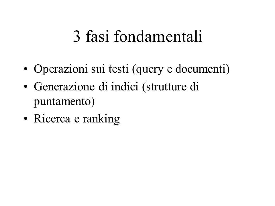 3 fasi fondamentali Operazioni sui testi (query e documenti) Generazione di indici (strutture di puntamento) Ricerca e ranking