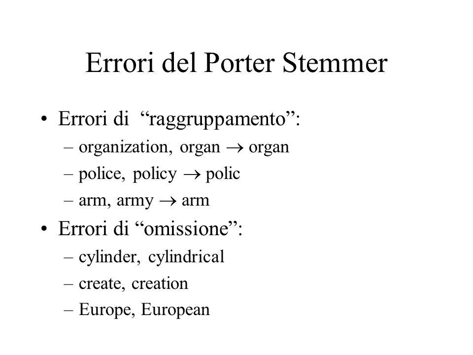 Errori del Porter Stemmer Errori di raggruppamento: –organization, organ organ –police, policy polic –arm, army arm Errori di omissione: –cylinder, cy
