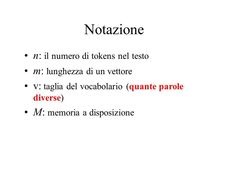 Notazione n: il numero di tokens nel testo m: lunghezza di un vettore v: taglia del vocabolario (quante parole diverse) M: memoria a disposizione