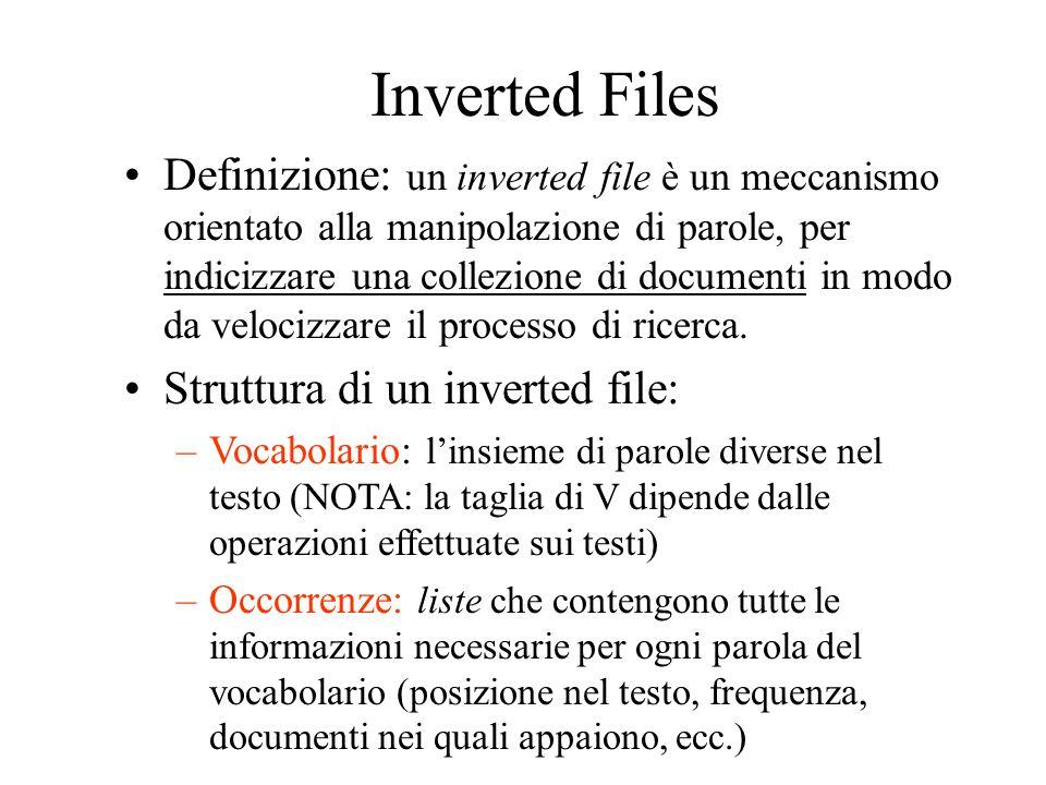Inverted Files Definizione: un inverted file è un meccanismo orientato alla manipolazione di parole, per indicizzare una collezione di documenti in mo