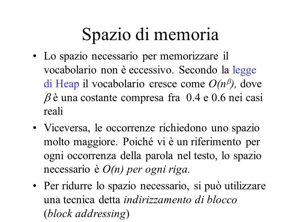 Spazio di memoria Lo spazio necessario per memorizzare il vocabolario non è eccessivo. Secondo la legge di Heap il vocabolario cresce come O(n ), dove