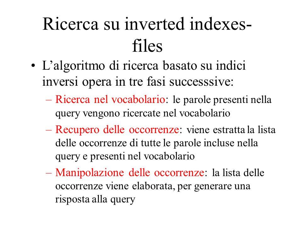Ricerca su inverted indexes- files Lalgoritmo di ricerca basato su indici inversi opera in tre fasi successsive: –Ricerca nel vocabolario: le parole p