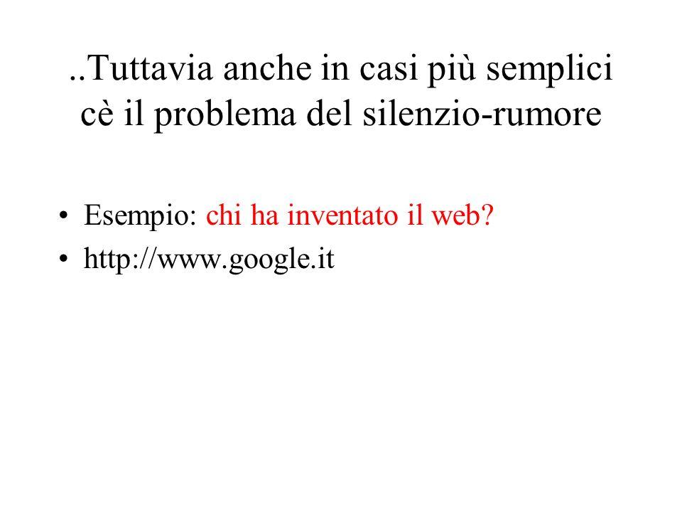 ..Tuttavia anche in casi più semplici cè il problema del silenzio-rumore Esempio: chi ha inventato il web? http://www.google.it
