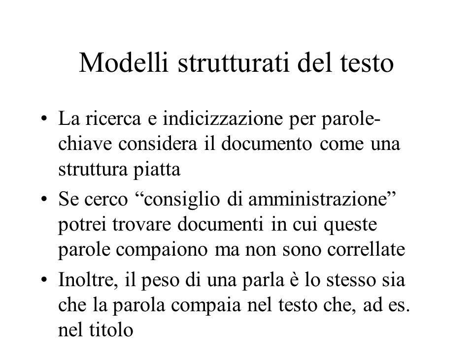 Modelli strutturati del testo La ricerca e indicizzazione per parole- chiave considera il documento come una struttura piatta Se cerco consiglio di am