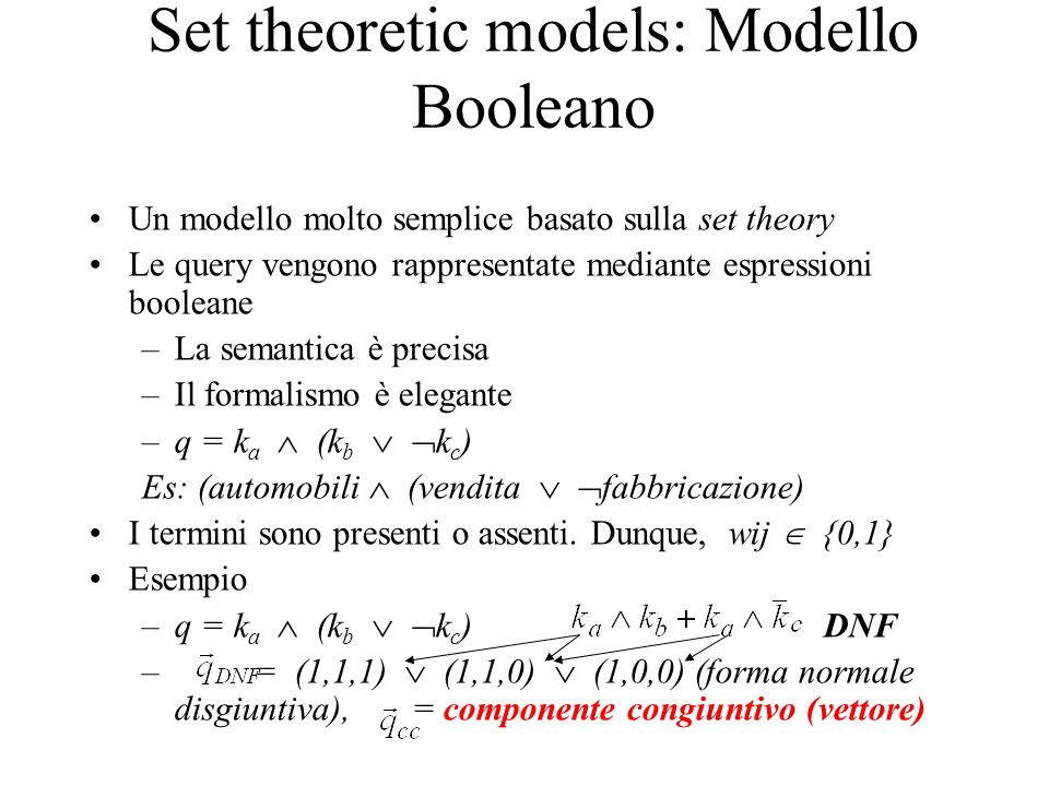 Set theoretic models: Modello Booleano Un modello molto semplice basato sulla set theory Le query vengono rappresentate mediante espressioni booleane