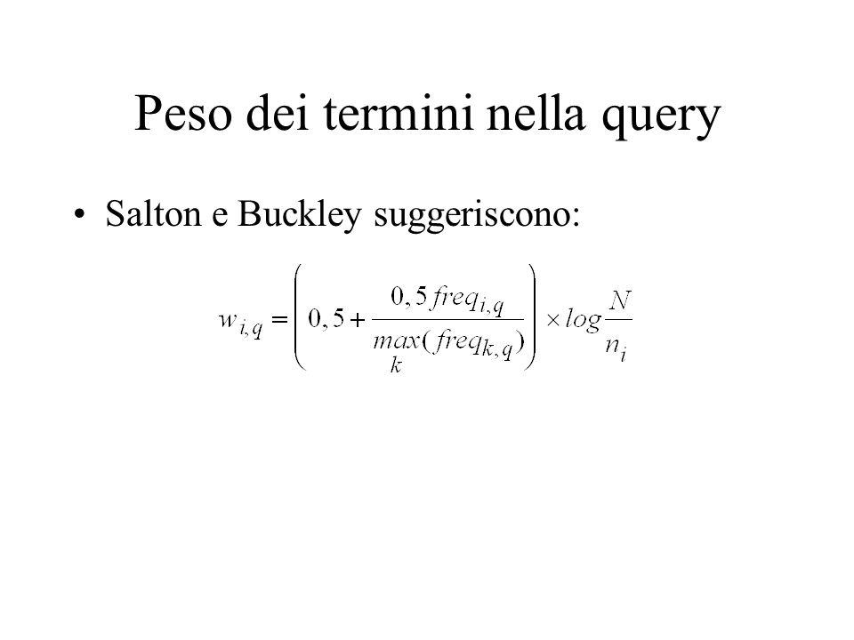Peso dei termini nella query Salton e Buckley suggeriscono: