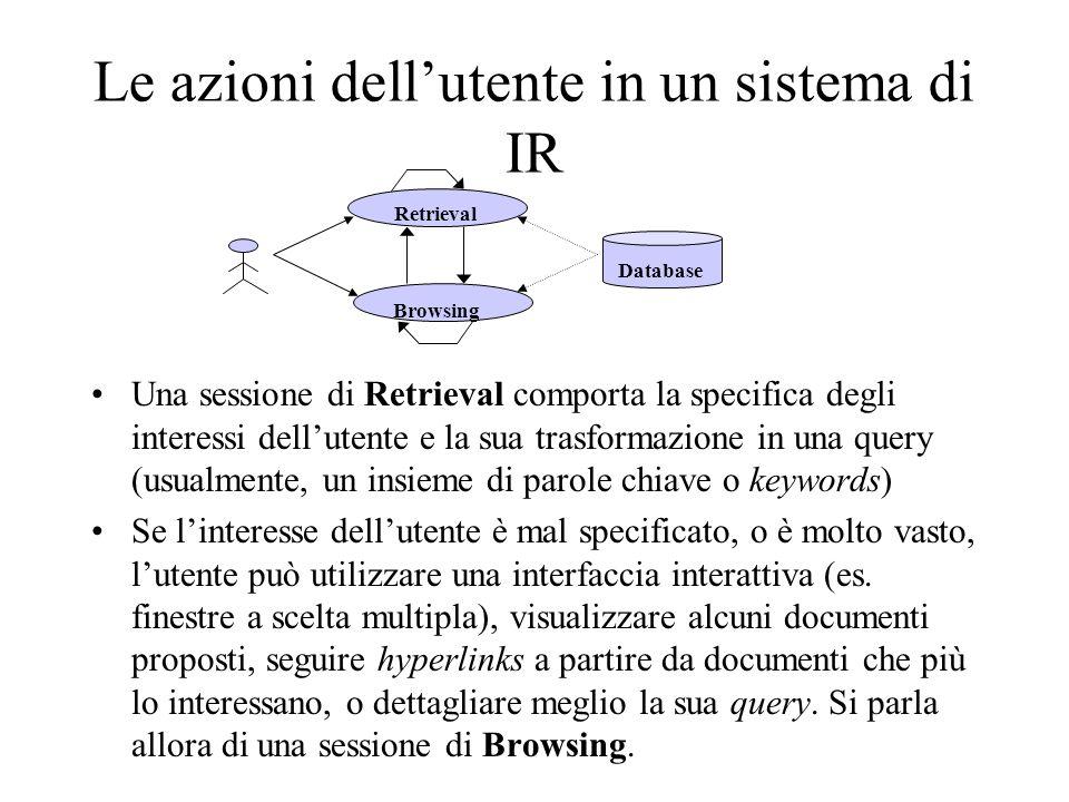 Le azioni dellutente in un sistema di IR Una sessione di Retrieval comporta la specifica degli interessi dellutente e la sua trasformazione in una que