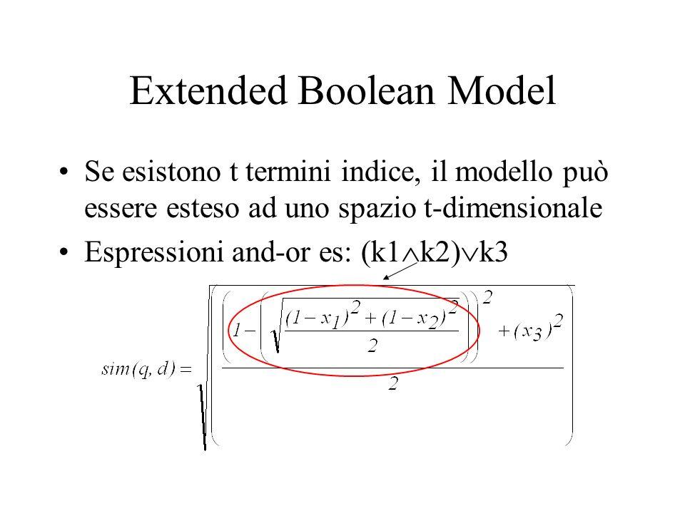 Extended Boolean Model Se esistono t termini indice, il modello può essere esteso ad uno spazio t-dimensionale Espressioni and-or es: (k1 k2) k3