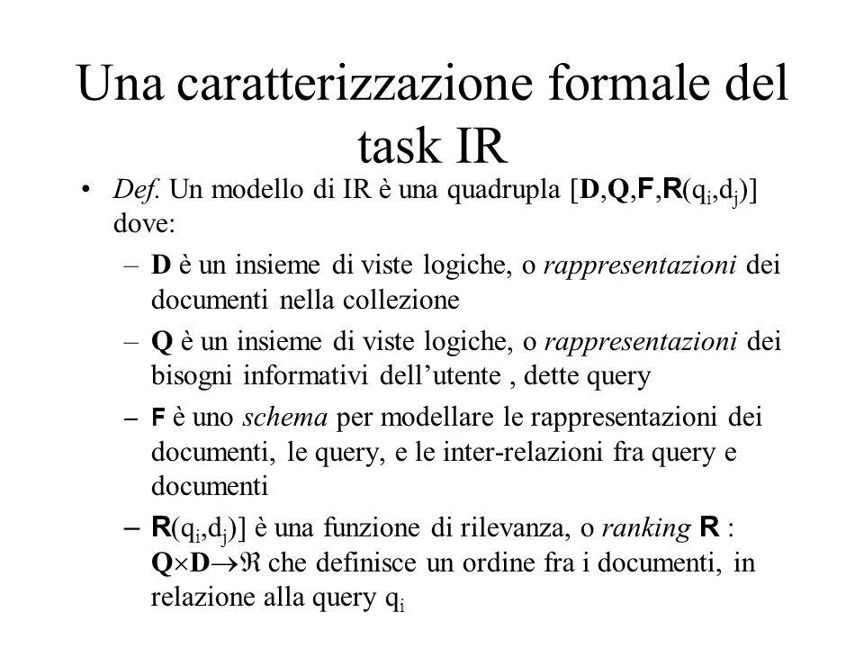 Una caratterizzazione formale del task IR Def. Un modello di IR è una quadrupla [D,Q, F, R (q i,d j )] dove: –D è un insieme di viste logiche, o rappr