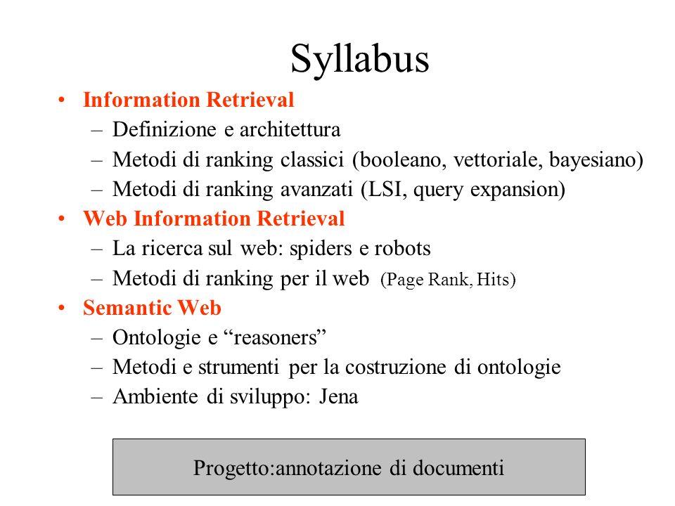 Syllabus Information Retrieval –Definizione e architettura –Metodi di ranking classici (booleano, vettoriale, bayesiano) –Metodi di ranking avanzati (