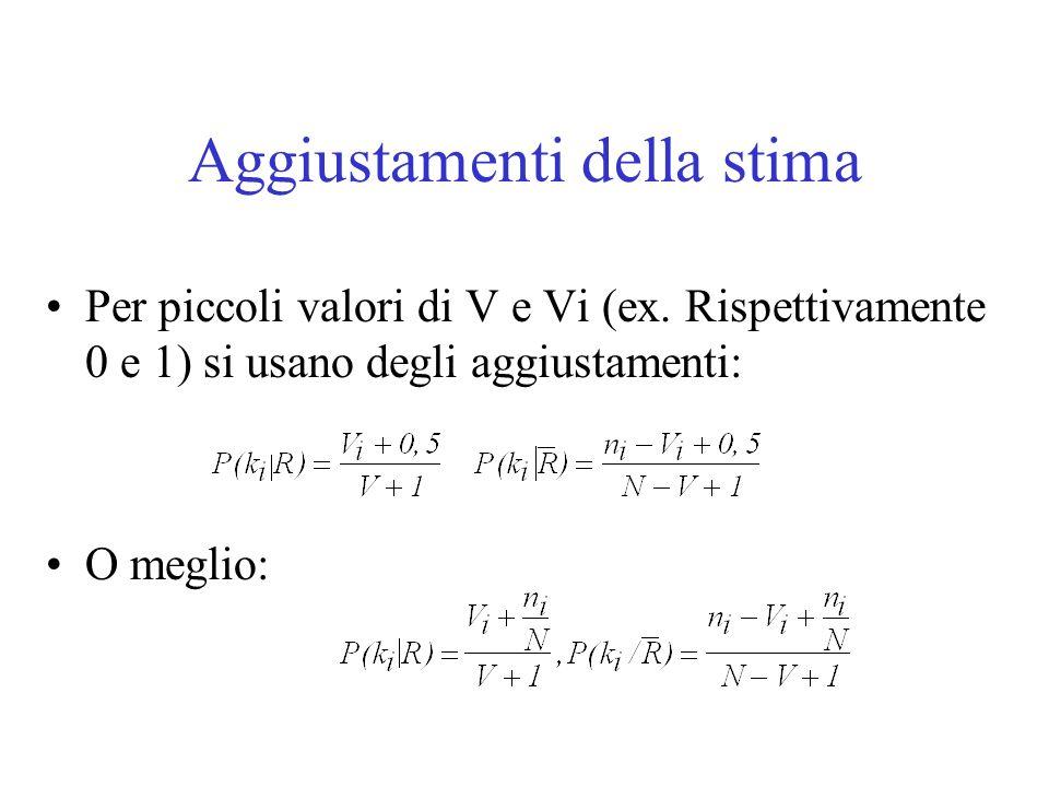 Aggiustamenti della stima Per piccoli valori di V e Vi (ex. Rispettivamente 0 e 1) si usano degli aggiustamenti: O meglio: