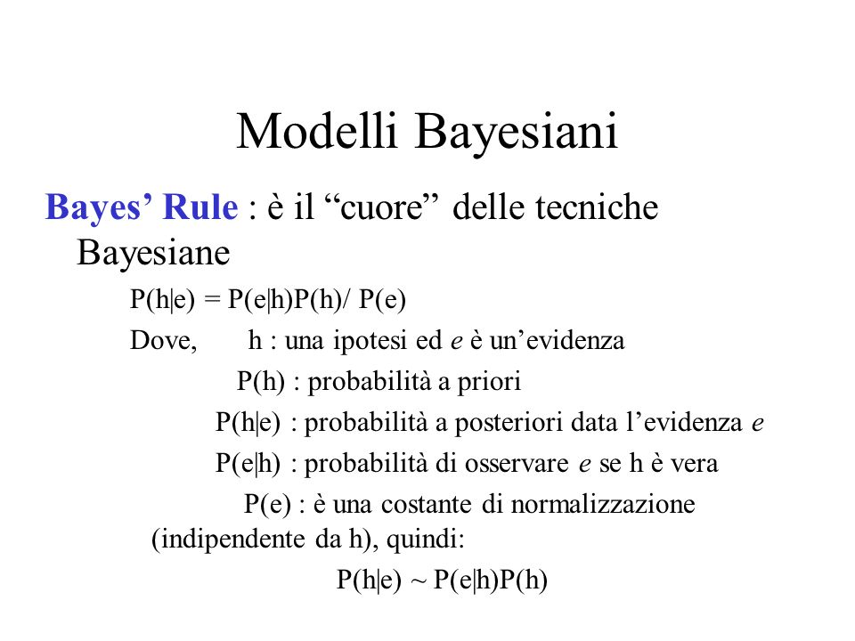 Modelli Bayesiani Bayes Rule : è il cuore delle tecniche Bayesiane P(h|e) = P(e|h)P(h)/ P(e) Dove, h : una ipotesi ed e è unevidenza P(h) : probabilit