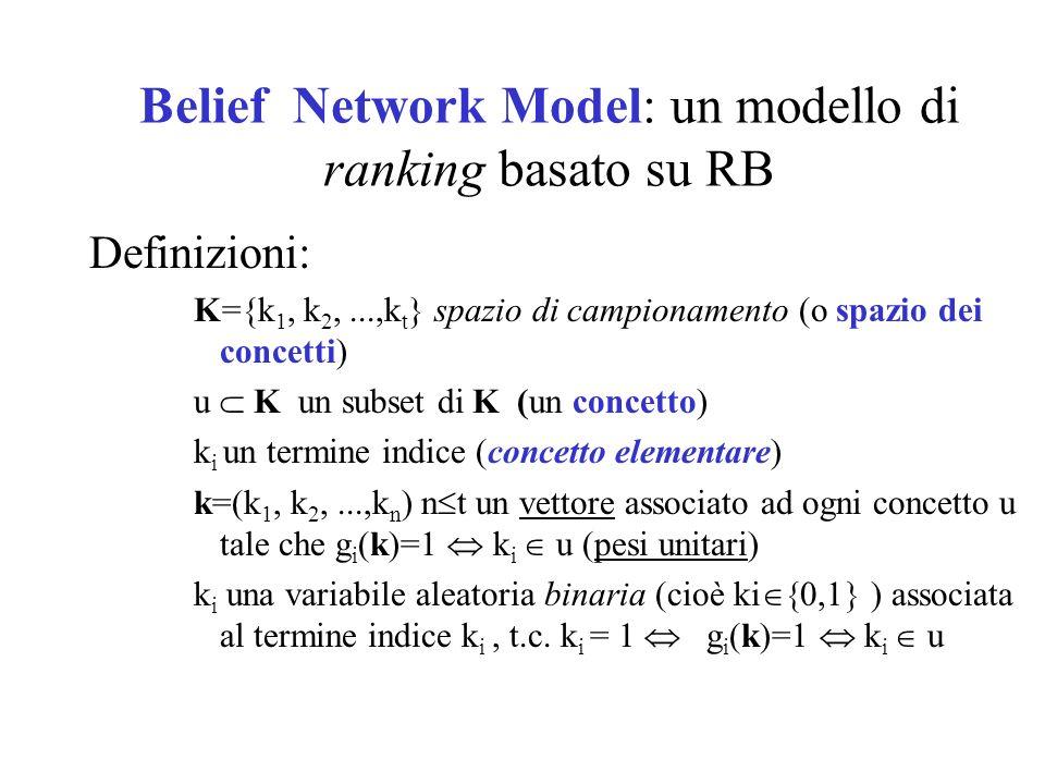 Belief Network Model: un modello di ranking basato su RB Definizioni: K={k 1, k 2,...,k t } spazio di campionamento (o spazio dei concetti) u K un sub