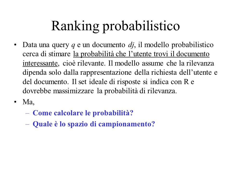 Ranking probabilistico Data una query q e un documento dj, il modello probabilistico cerca di stimare la probabilità che lutente trovi il documento in