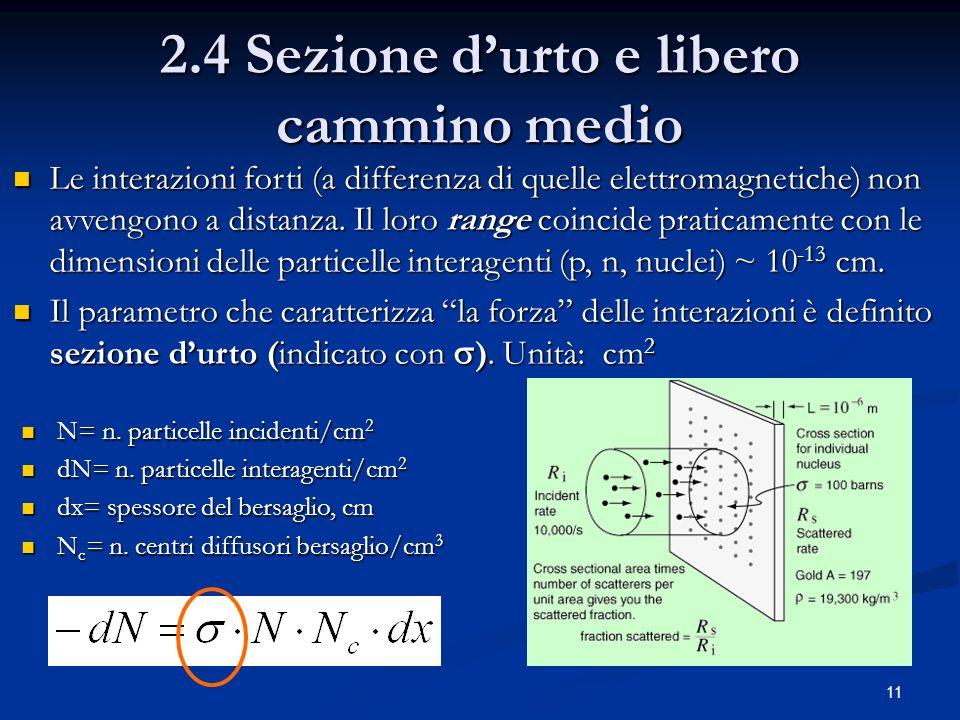 11 2.4 Sezione durto e libero cammino medio Le interazioni forti (a differenza di quelle elettromagnetiche) non avvengono a distanza. Il loro range co