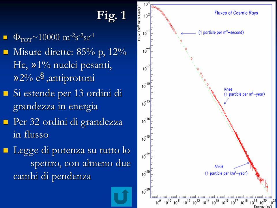 16 Fig. 1 TOT ~10000 m -2 s -2 sr -1 TOT ~10000 m -2 s -2 sr -1 Misure dirette: 85% p, 12% He, » 1% nuclei pesanti, » 2% e §,antiprotoni Misure dirett