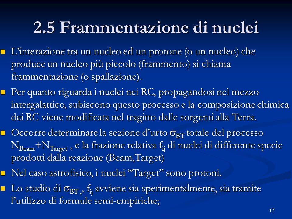 17 2.5 Frammentazione di nuclei Linterazione tra un nucleo ed un protone (o un nucleo) che produce un nucleo più piccolo (frammento) si chiama frammen