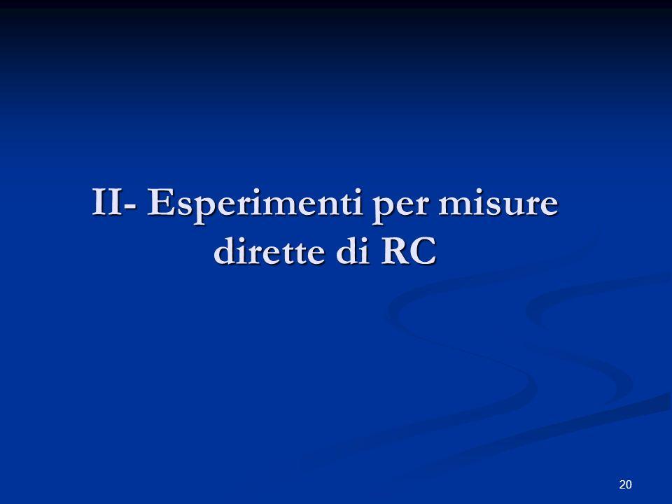 20 II- Esperimenti per misure dirette di RC