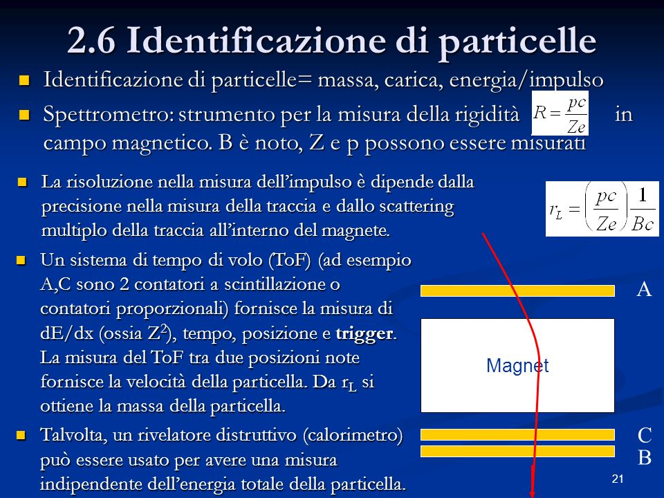 21 2.6 Identificazione di particelle Magnet A C B Identificazione di particelle= massa, carica, energia/impulso Identificazione di particelle= massa,