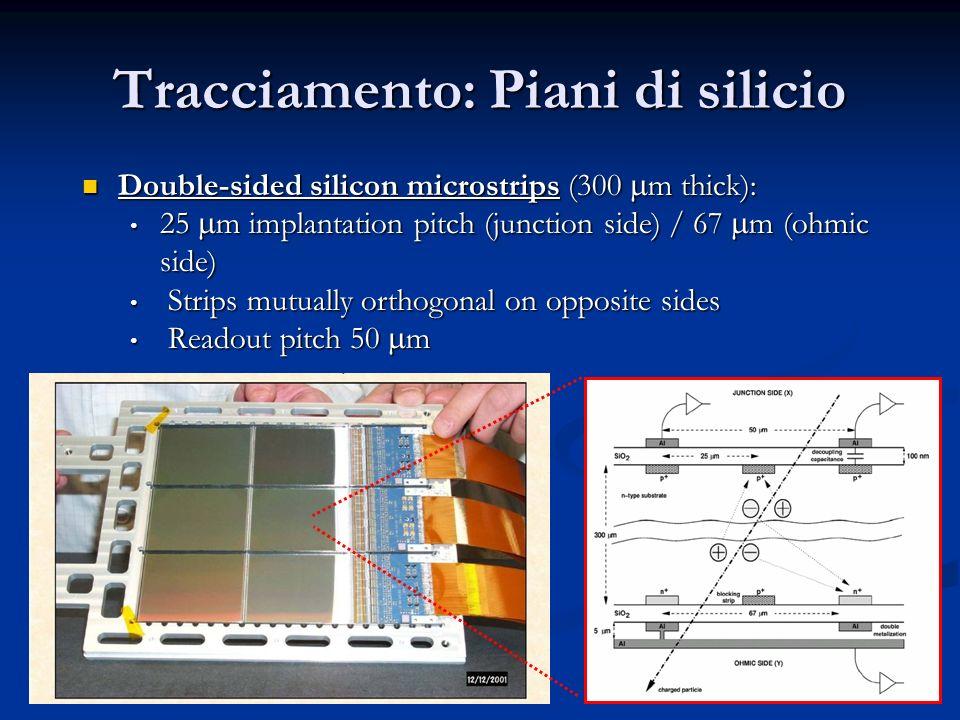 30 Tracciamento: Piani di silicio Double-sided silicon microstrips (300 m thick): Double-sided silicon microstrips (300 m thick): 25 m implantation pi