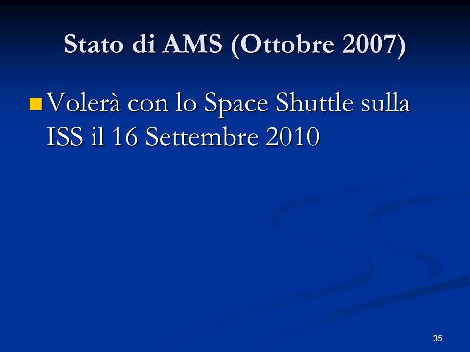 35 Stato di AMS (Ottobre 2007) Volerà con lo Space Shuttle sulla ISS il 16 Settembre 2010 Volerà con lo Space Shuttle sulla ISS il 16 Settembre 2010
