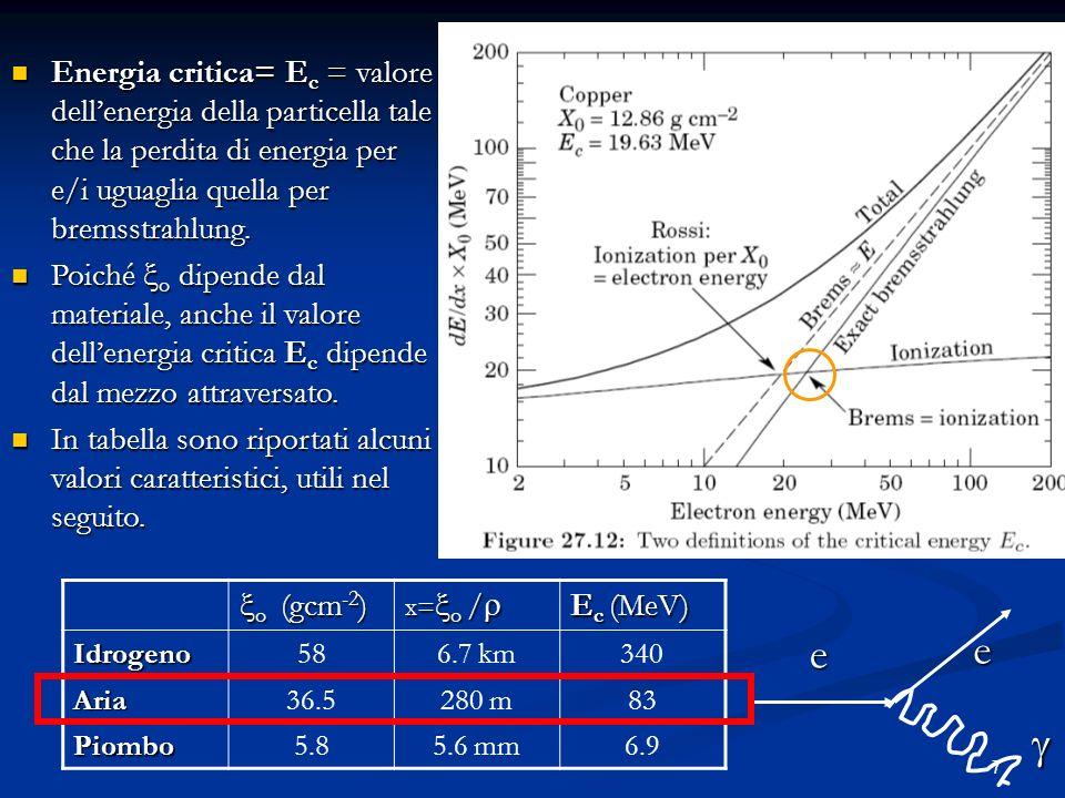 7 Energia critica= E c = valore dellenergia della particella tale che la perdita di energia per e/i uguaglia quella per bremsstrahlung. Energia critic