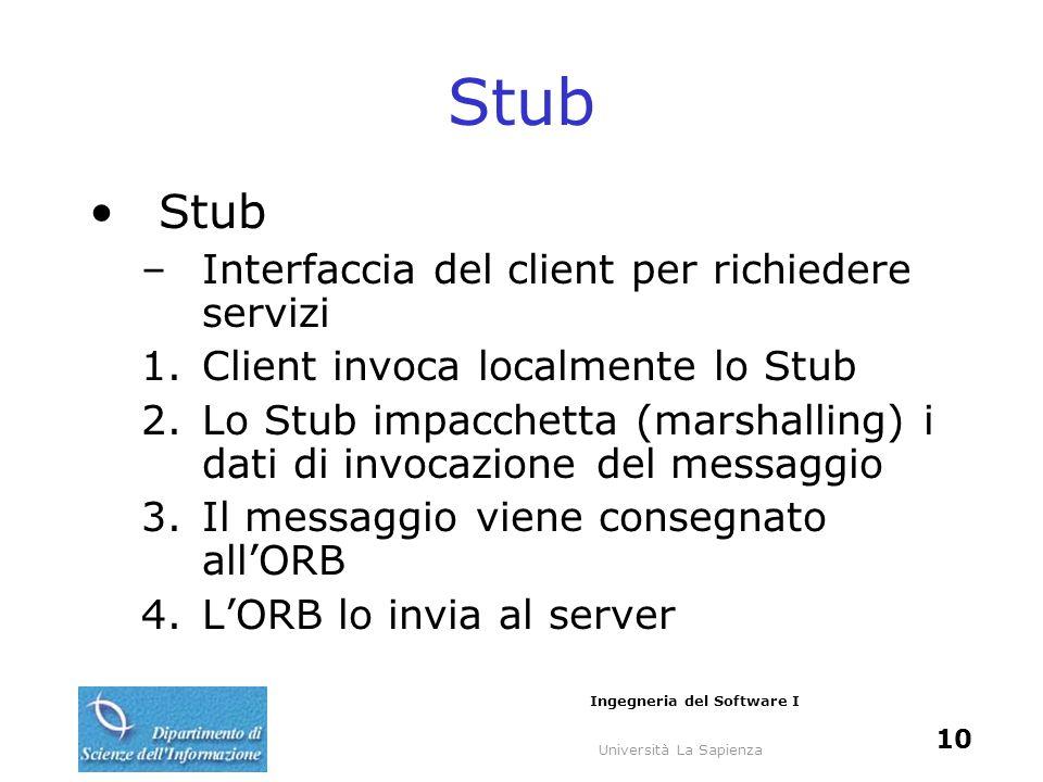 Università La Sapienza Ingegneria del Software I 10 Stub –Interfaccia del client per richiedere servizi 1.Client invoca localmente lo Stub 2.Lo Stub i