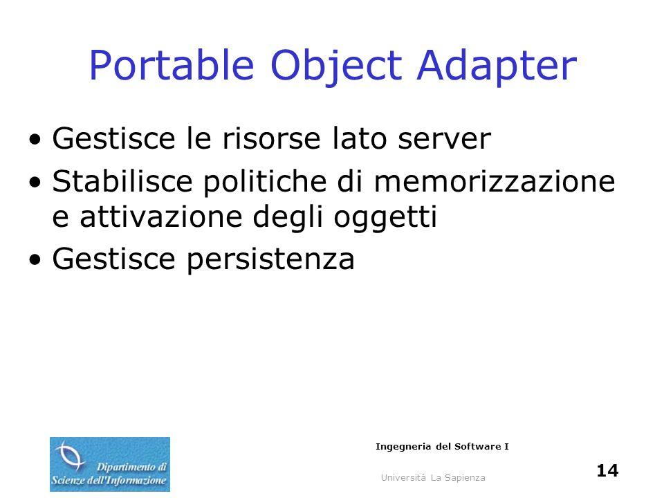 Università La Sapienza Ingegneria del Software I 14 Portable Object Adapter Gestisce le risorse lato server Stabilisce politiche di memorizzazione e a