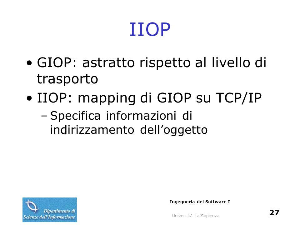 Università La Sapienza Ingegneria del Software I 27 IIOP GIOP: astratto rispetto al livello di trasporto IIOP: mapping di GIOP su TCP/IP –Specifica in