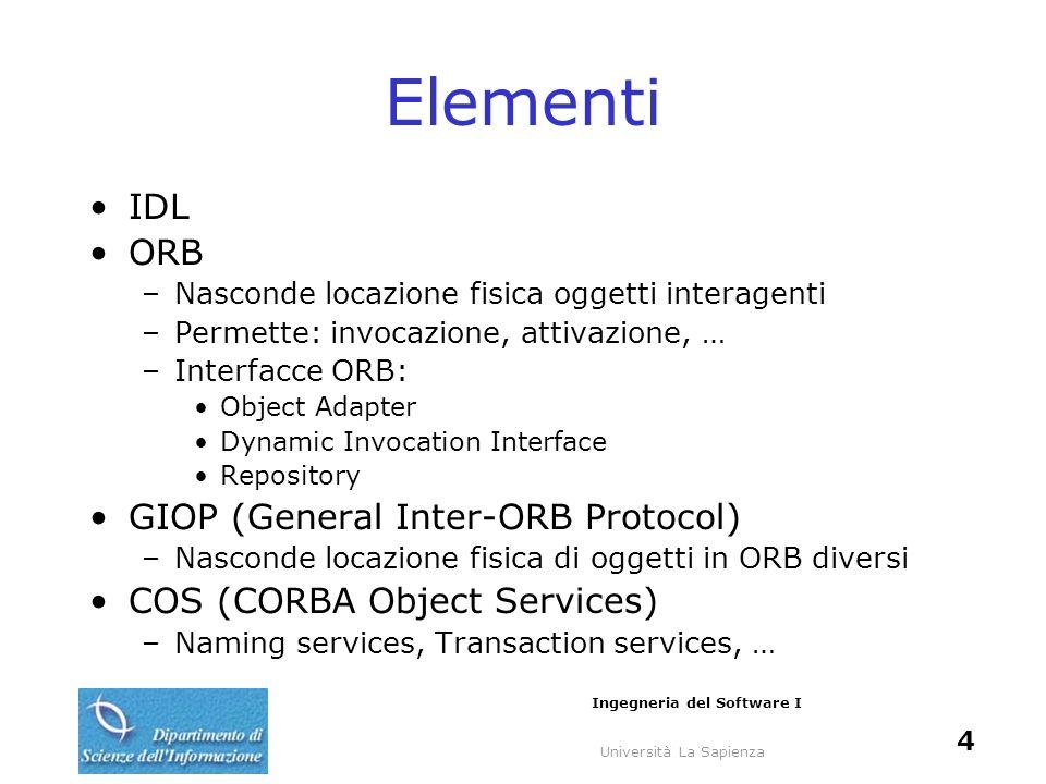 Università La Sapienza Ingegneria del Software I 4 Elementi IDL ORB –Nasconde locazione fisica oggetti interagenti –Permette: invocazione, attivazione