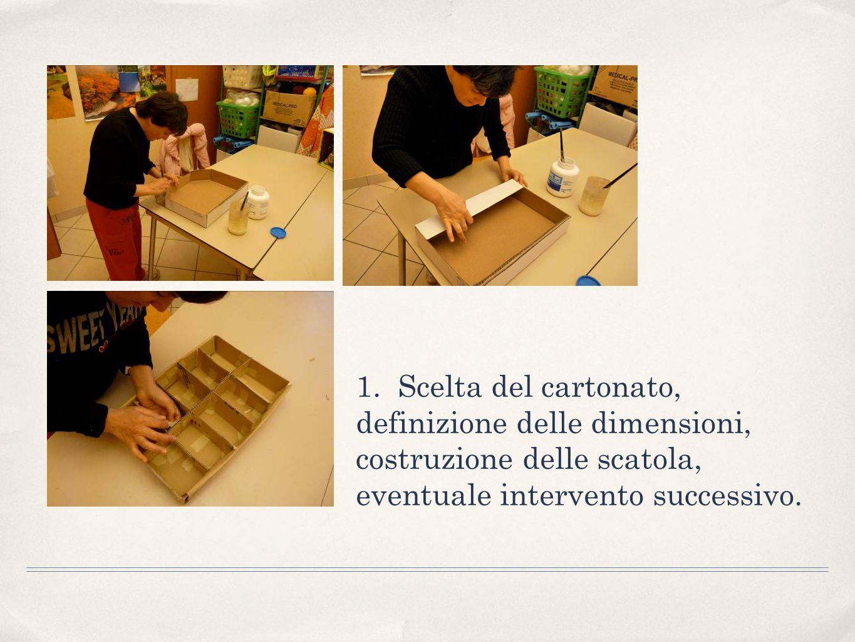 2. Scelta del materiale per rivestire la scatola e decorazione con textures grafiche.