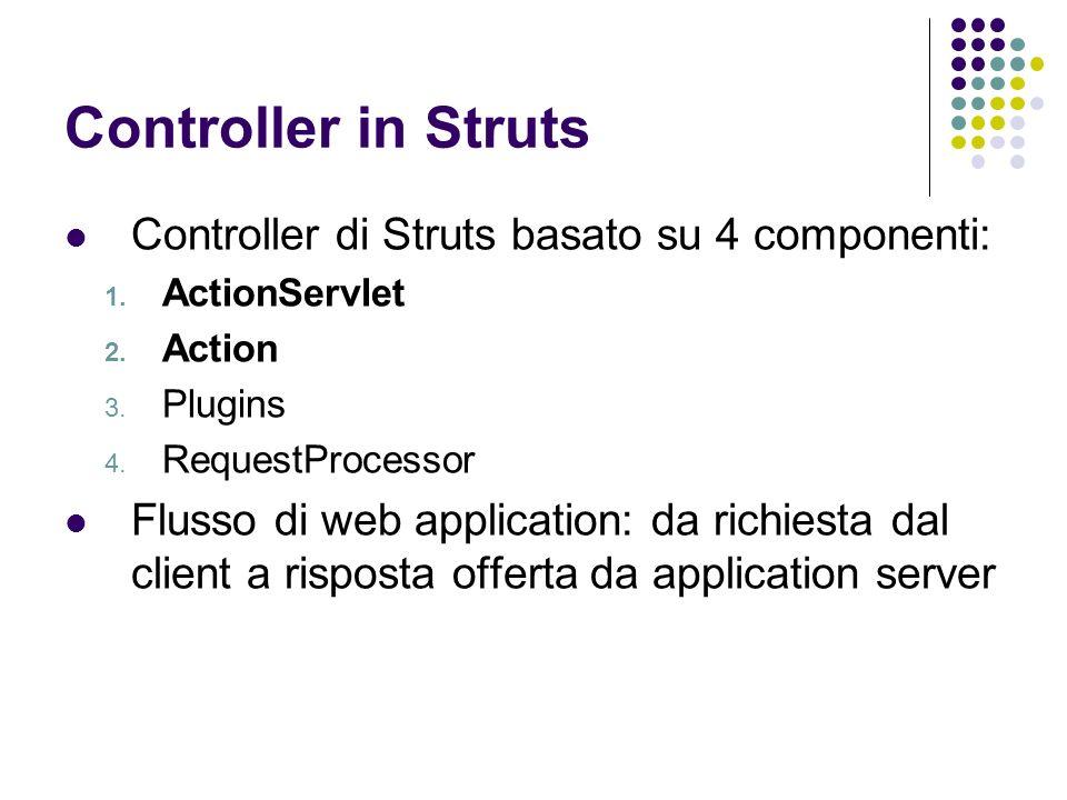 Controller in Struts Controller di Struts basato su 4 componenti: 1. ActionServlet 2. Action 3. Plugins 4. RequestProcessor Flusso di web application: