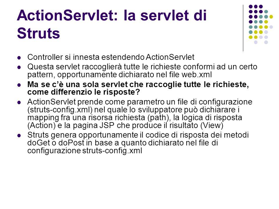 ActionServlet: la servlet di Struts Controller si innesta estendendo ActionServlet Questa servlet raccoglierà tutte le richieste conformi ad un certo