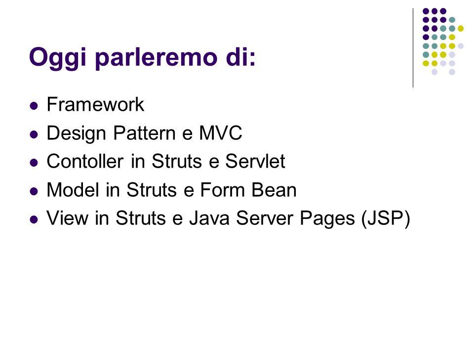 Oggi parleremo di: Framework Design Pattern e MVC Contoller in Struts e Servlet Model in Struts e Form Bean View in Struts e Java Server Pages (JSP)