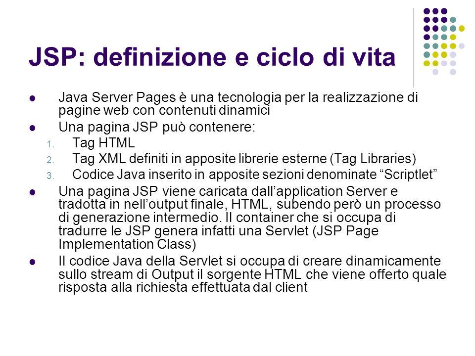 JSP: definizione e ciclo di vita Java Server Pages è una tecnologia per la realizzazione di pagine web con contenuti dinamici Una pagina JSP può conte