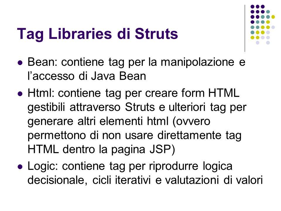 Tag Libraries di Struts Bean: contiene tag per la manipolazione e laccesso di Java Bean Html: contiene tag per creare form HTML gestibili attraverso S