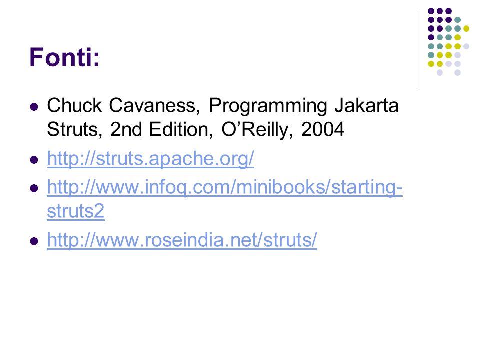 Fonti: Chuck Cavaness, Programming Jakarta Struts, 2nd Edition, OReilly, 2004 http://struts.apache.org/ http://www.infoq.com/minibooks/starting- strut
