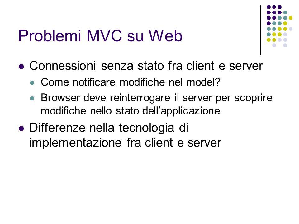 Problemi MVC su Web Connessioni senza stato fra client e server Come notificare modifiche nel model? Browser deve reinterrogare il server per scoprire