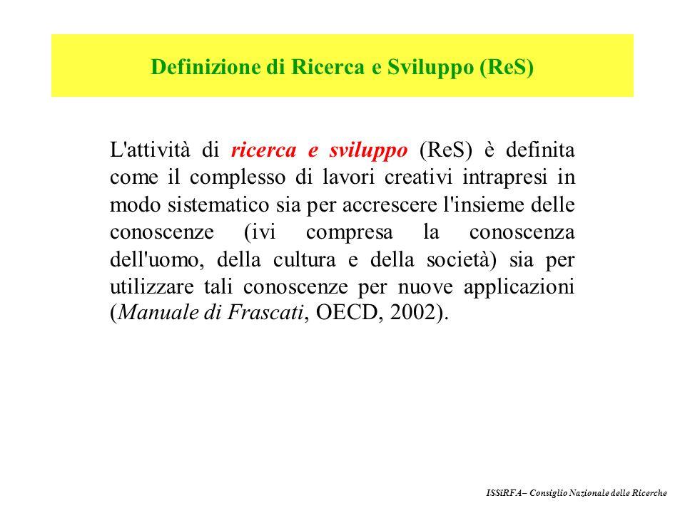 200012.4601,07150.066 200113.5721,11153.905 200214.6001,16164.023 200314.7691,14161.828 2004 (prev.)15.0521,11- 2005 (prev.)15.4811,13- I numeri della ricerca in Italia Anno Spesa per R&S R&S/Pil Personale (mil.