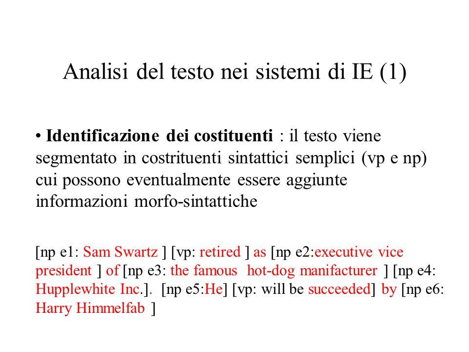 Analisi del testo nei sistemi di IE (1) Identificazione dei costituenti : il testo viene segmentato in costrituenti sintattici semplici (vp e np) cui