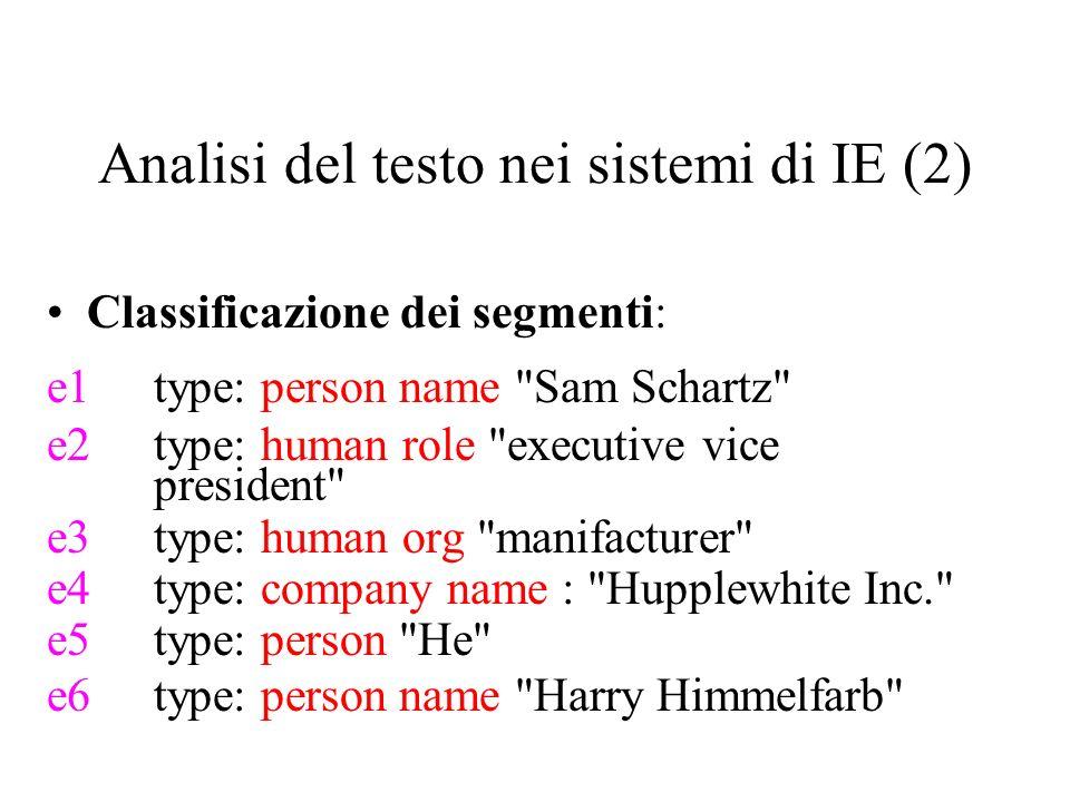 Analisi del testo nei sistemi di IE (2) Classificazione dei segmenti: e1type: person name